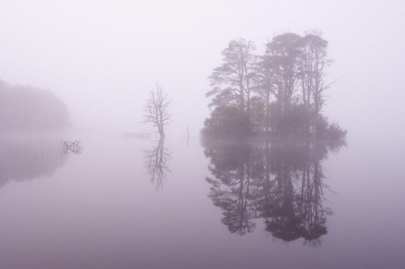 Loch Mallachie in mist. Abernethy. Scotland. September 2006.