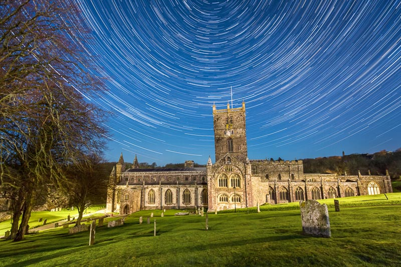 star trails in front of church