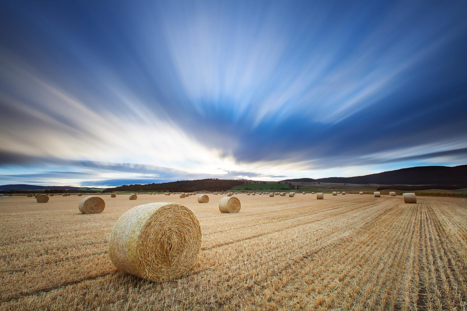 Long exposure photography field of hay