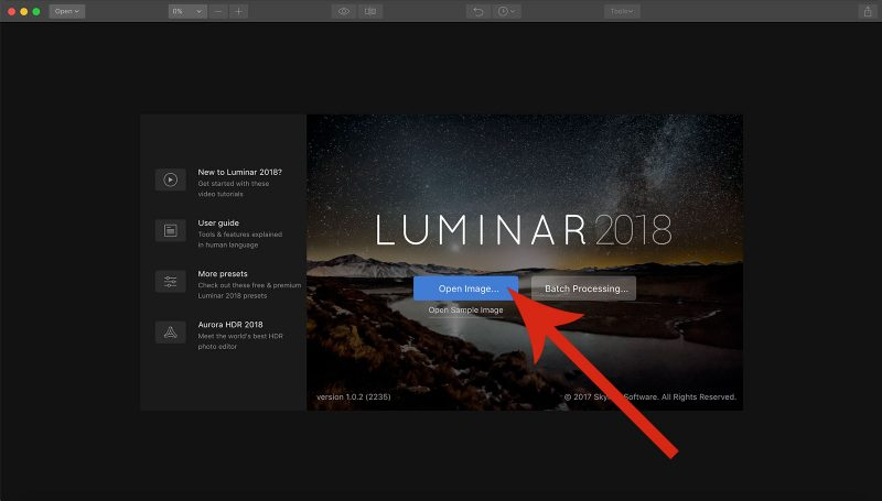 luminar 2018 open raw file