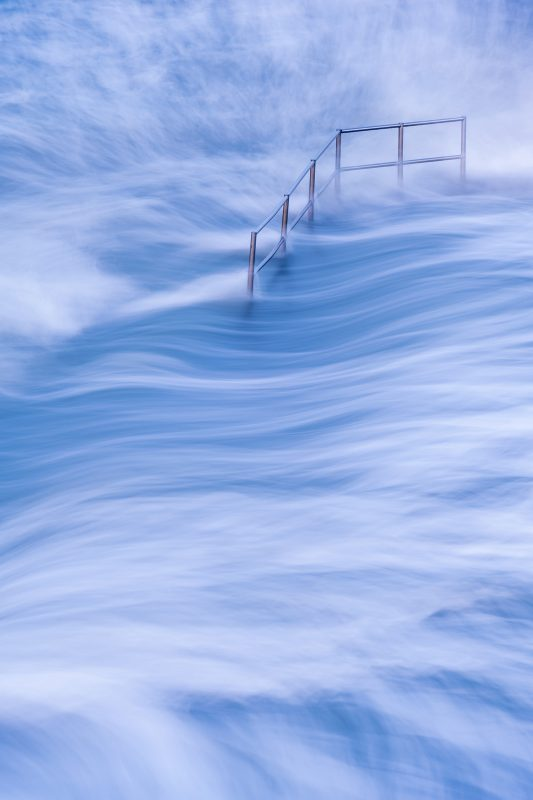 Waves photographed using a slow shutterspeed