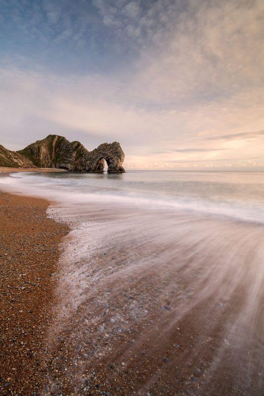 Durdle door photographed with a slow shutterspeed