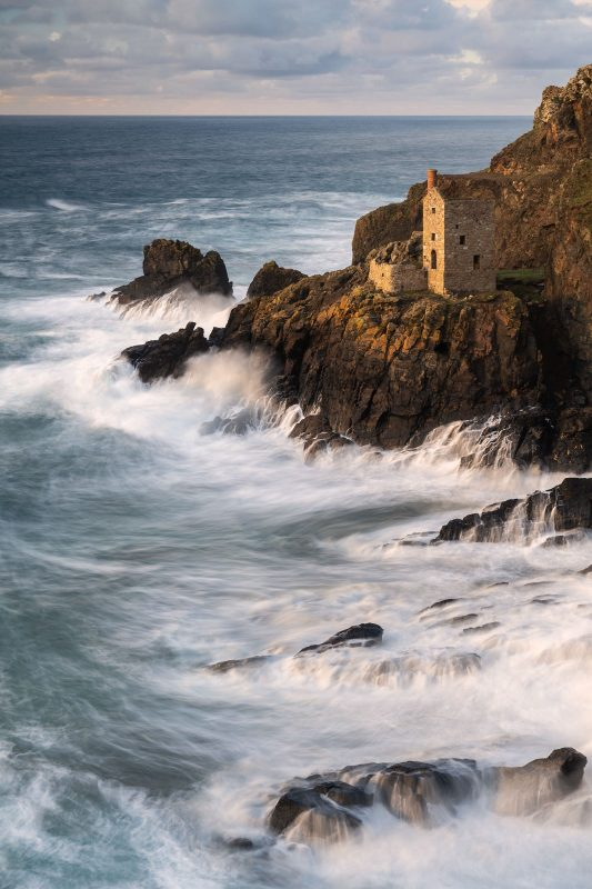 Cornish landscape with soft blurred waves