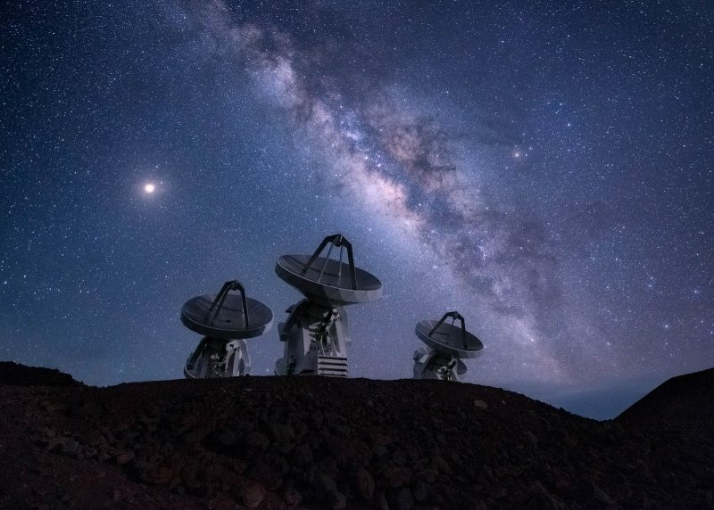 Satellites in front of the milky way