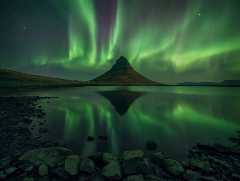 Reflection of the aurora