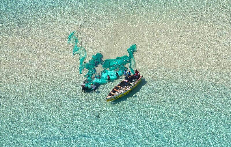 Fishermen photographed from above