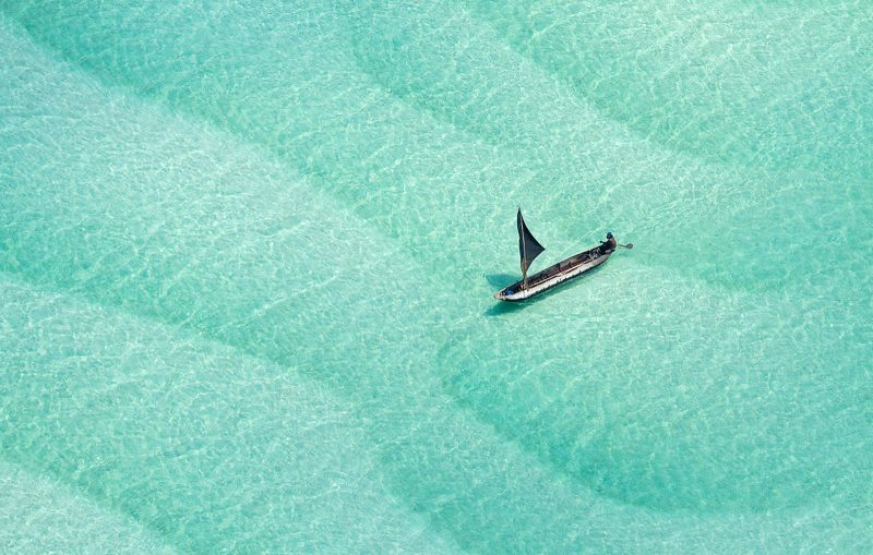Boat photographed from above