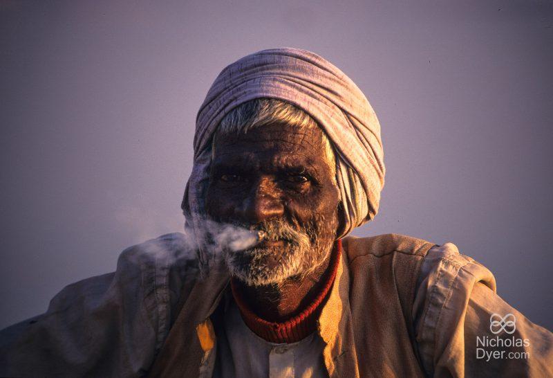 Indian man smoking