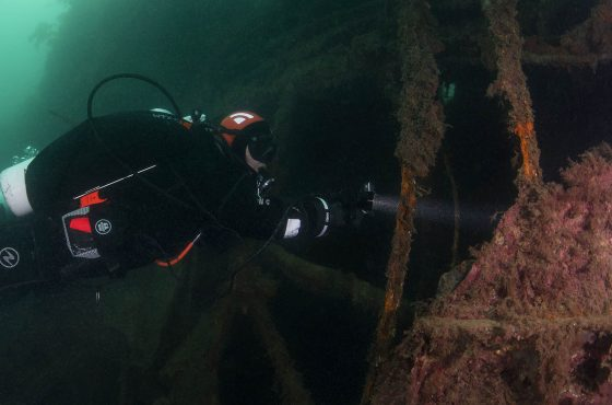 Tech Diver at wreck ethics of underwater photography tips